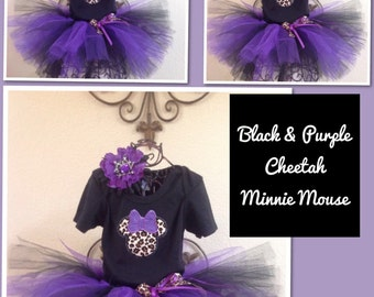 Minnie Mouse Birthday, Minnie Mouse Tutu Set WITH NAME, Leopard Minnie Mouse Birthday, Cheetah Minnie Mouse