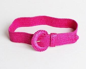 Vintage 90s Woven Straw Belt / 1990s Hot Pink Statement Belt, s m