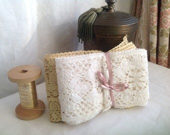 Antique Lace, Vintage Lace Trims, Period Costume, Dolls Bears & Furnishings 2pc White Yellow Laces