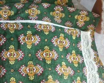 Vintage French Fabric, Cushion & Bolster Cover. French Textiles. Rustic Home Decor. Furnishings Supplies