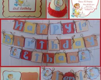 Vintage 1st Birthday Boy Supreme Package Vintage 1st Birthday Invitations-baby boy birthday-party decorations-vintage