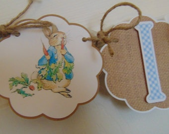 Peter Rabbit High Chair banner Beatrix  Potter bunny  Easter 1st birthday party decorations baby shower birthday burlap banner