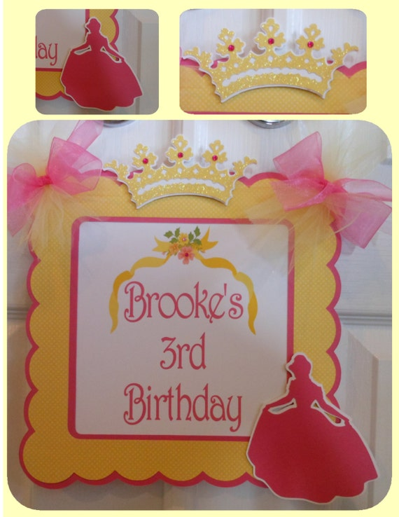 beauty and the beast door banner princess disney belle birthday baby