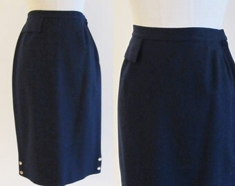 Vintage 1950's Navy Blue Pencil Skirt / Blue Wool High Waist Skirt / Jo Collins Size Small