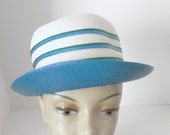 Mr John Sophisticate Straw Hat - Teal Blue and Green Trimmed Hat -
