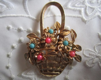 Vintage Basket Brooch with Openwork Basket and Leaves and Flowers with Pink and Blue Centers