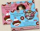 Bubbly Sock Monkey Boy OR Girl Custom Birthday Party Photo Invitation Design - any age