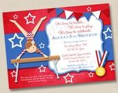 Little Gymnast Custom Birthday Party Invitation Design- any age