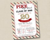 Class Reunion with Bling Custom Invitation Design- any year & you choose colors
