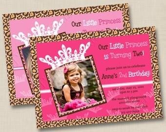 Sassy Leopard or Simple Little Princess Custom Photo Birthday Party Invitation Design- any age