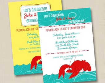 Southern Crawfish Boil Custom Engagement Party Invitation Design or any occasion