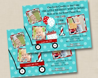 Little Red Wagon Custom Birthday Party Photo Invitation Design - any age