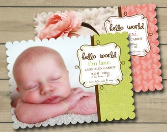 Scalloped Die Cut Custom Photo Birth Announcement Design - or any occasion