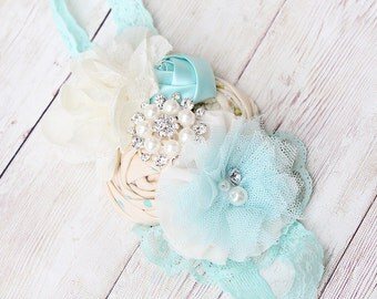 Aqua Elegance -aqua and ivory rosette, satin rosette and lace bloom headband