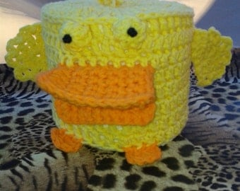 Yellow Duck Crochet Bathroom Tissue Cover