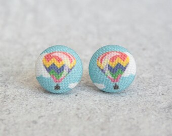 Hot Air Balloon Fabric Button Earrings