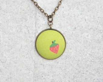 Strawberry, Fabric Button Pendant Necklace