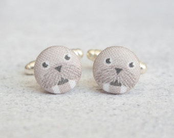 What a Walrus, Fabric Covered Button Cufflinks