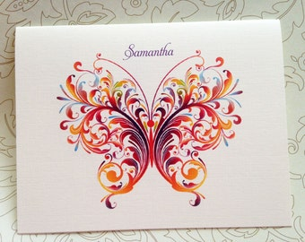 Personalized Stationery, Butterfly Note Cards - Set of 6