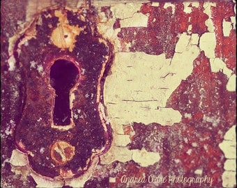 Rusty Keyhole, Fine Art PHotograph, 8x10, White, Brown, Red, Winter, Paint, Wall Decor, Print, Art, Photo, Snow, Landscape, Abstract, macro