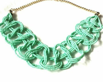 Turquoise Beaded Braid Statement Necklace