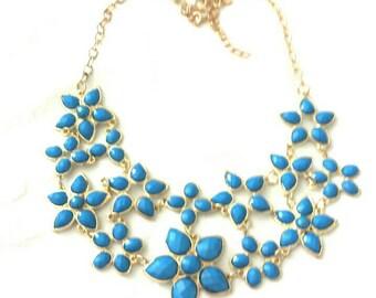 Blue daisies statement necklace