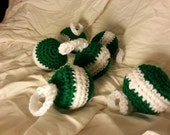 Unbreakable Crochet Ornaments - Green and White - Set of 6
