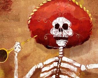 Dia de los Muertos Calavera Mariachi - 18x24 art poster print