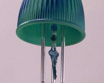 Blue Swirl Light Shade Windchime, Glass Globe Wind Chime, Repurposed Keys Windchime, Glass Shade Wind Chime, Recycled, Upcycled, Patio Decor