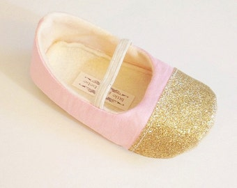 Baby Girl Shoes Toddler Girl Shoes MORE COLORS AVAILABLE Flower Girl Shoes Birthday Girl Shoes Pink Glitter Gold Cap Toe -Nova