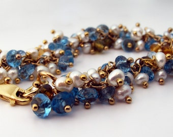 London Blue Topaz and Tourmaline Ankle Bracelet