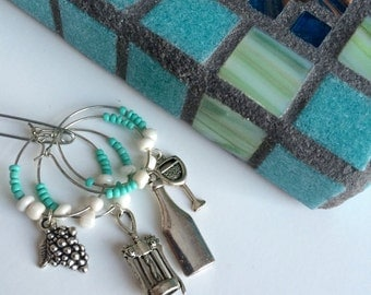 Ready to Ship Gift Set- Mosaic Trivet & Wine Glass Charms