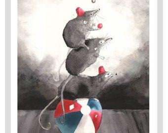Pigmy Shrews A3 Print