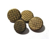 Victorian Gilt Buttons Four (4) ANTIQUE Victorian Buttons Brass Two Piece Gold Tone Weave Buttons Vintage Jewelry Sewing Supplies (M19)