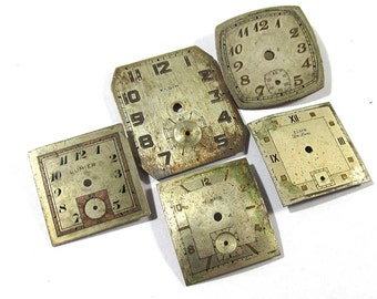 Engraved Metal Watch Faces VINTAGE Watch Face Plates Five (5) Watch Face Plates Vintage Watch Jewelry Art Assemblage Supplies (D6)