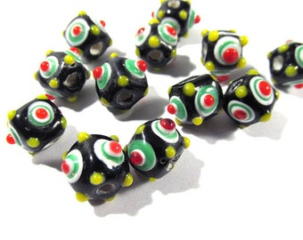Lampwork Beads VINTAGE Glass Lampwork Beads Strand Forty Eight (48) Black Red Green Bumpy Lampwork Vintage Jewelry Supplies (D136)