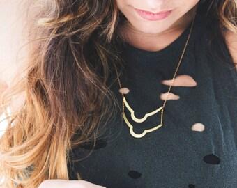 Modern Brass Bar Necklace   Minimal Boho Jewelry   Gold Ladder Necklace