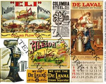 Farm Illustrations, Digital Collage, Antique Machine, DIY Printable Paper, Old Plow Advertising, Cream Separators, Advertising Card - , 138a