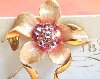 Rhinestone Vintage Brooch Pin Large Flower Pink Enamel Vintage Jewelry