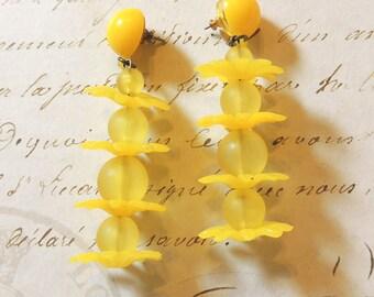 Yellow Pierced Earrings Long Dangle Flowers Vintage Jewelry