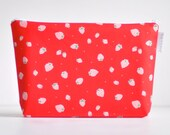 large wet bag. cosmetic bag. red strawberry organic cotton print.  by Cloud Love Baby