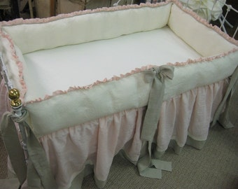Washed Nursery Linens in Cream, Ballet and Concrete-Gathered Crib Skirt-Ruffled Bumpers-Sash Ties-Cottage Style Nursery Linens
