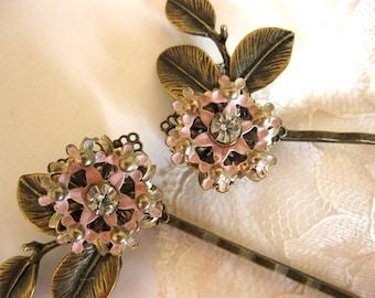 Pink enamel and rhinestone vintage earring bobby pins, pink hair pins, vintage bobby pins, bronze leaves, bridal hair pins