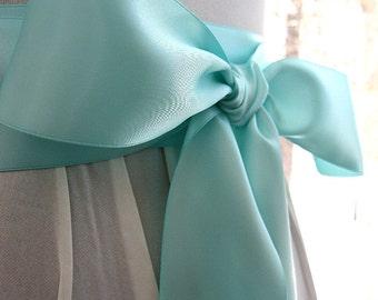 Aqua blue Seafoam wedding sash, bridal sash, bridesmaid sash, bridal belt, 2.25 inch satin ribbon