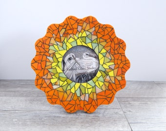 Stained Glass Mosaic Wavy Frame Orange/Yellow