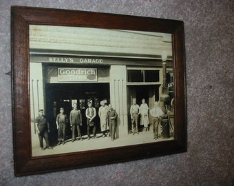 Vintage Auto Repair Garage Photograph Old Automobile Gas Station Occupational Photo Goodrich Tires Antique Gas Pump Kelly Family