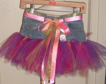 Little Girls Denim Tutu Skirt Size 12