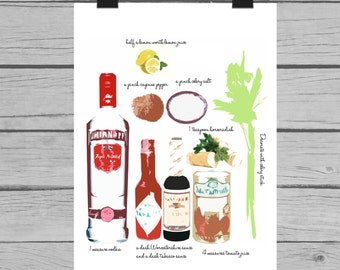 Bloody Mary recipe mixed media art  - Fine art print. A3