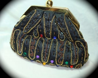 1990 La Regale Beaded and Jeweled Black Satin Pouch Bag Clutch and Shoulder Bag.