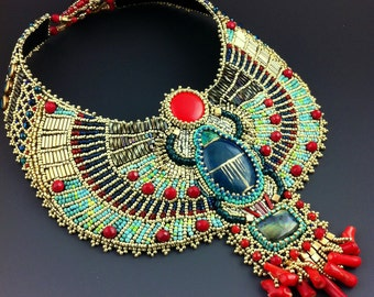 Sun Scarab -Custom Made To Order- Bead Embroidered Egyptian Scarab Necklace, Statement Collar Necklace